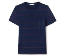 Rundhals-T-Shirt aus schwerem gestreiftem Jersey