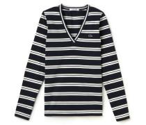 Damen-T-Shirt aus gestreiftem Baumwolljersey mit V-Ausschnitt