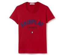 Damen-Lacoste-T-Shirt aus Jersey mit Fairplay-Druckmotiv