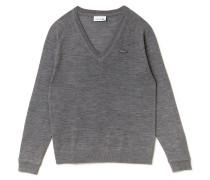 Damen-Pullover aus Woll-Jersey mit V-Ausschnitt