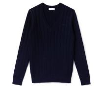 Damen-Pullover aus Baumwolle und Wolle mit Zopfmuster
