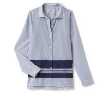 Damen-Bluse aus gestreifter Popeline im Colorblock-Design
