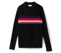 Damen-Pullover aus Wollstrickware mit Polokragen und Colorblocks