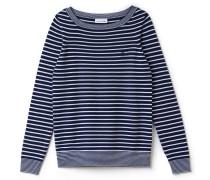 Maritime Damen-Bluse aus Woll-Misch-Jersey mit U-Boot-Ausschnitt