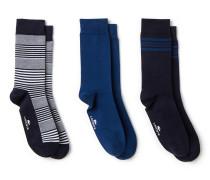 Gestreifte und einfarbige Socken Dreierpack