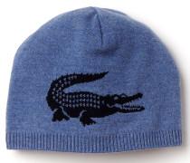 Herren-Wollmütze mit Jacquard-Krokodil