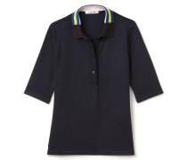 SlimFit Damen-Lacoste-Polo mit farbigem Kragen