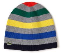 Kinder-Mütze aus Wolle und Baumwolle mit mehrfarbigen Streifen