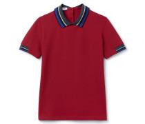 SlimFit Damen-Polo aus dehnbarem Piqué mit Streifen-Details