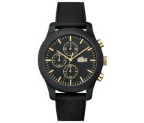 Uhr Lacoste.12.12 Chronograph mit schwarzer Silikonbeschichtung und schwarzem Silikonarmband und gelbgold IP Akzenten auf dem Zifferblatt