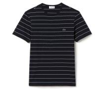 Herren-T-Shirt aus gestreiftem Jacquard mit Rundhalsausschnitt