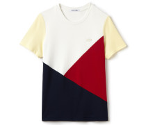 Damen-T-Shirt aus fließendem Colorblock-Material mit Rundhalsausschnitt