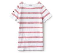 Damen-T-Shirt aus gestreiftem Jacquard mit U-Boot-Ausschnitt