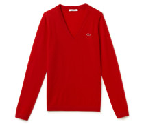 Damen-Wollpullover mit V-Ausschnitt