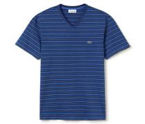 Herren-T-Shirt aus gestreiftem Baumwolljersey mit V-Ausschnitt