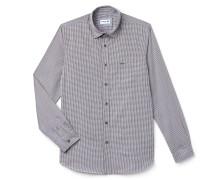 Slim Fit Herren-Hemd aus Baumwoll-Popeline mit Mini-Karos
