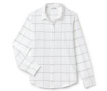 Slim Fit Damen-Bluse aus Seide und Baumwoll-Voile mit Netzmuster