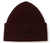Herren-Mütze aus gerippter Wolle mit LACOSTE Stickerei