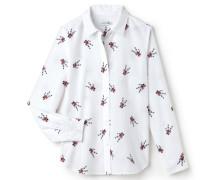 Regular Fit Damen-Bluse aus Voile aus Baumwolle und Seide