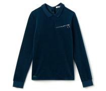 Geknöpftes Damen-Polo aus Samt Runway collection