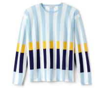 Damen-Rundhalspullover aus Wolle mit Streifen und Colorblocks