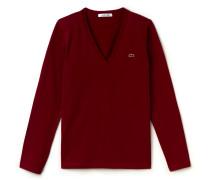 Damen-T-Shirt aus Baumwolljersey mit V-Ausschnitt