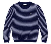 Jungen-Rundhalspullover aus gestreifter Baumwolle und Wolle