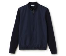 Herren-Strickjacke aus zweifarbiger Milano-Baumwolle und Nylon