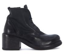 Stiefelletten Stiefeletten in Leder Schwarz mit Schnürbändern und Reißverschl