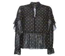 Blusen SHEER PRINTED TOP WITH RUFFLES