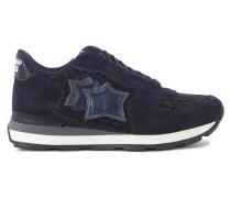 Sneaker Sneakers Vega in Leder Blau und Leopardenstoff