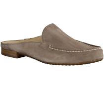Clogs 6044-019- Damenschuhe Pantolette / Zehentrenner, Beige, leder