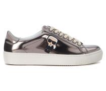 Sneaker Sneakers Silber in Leder