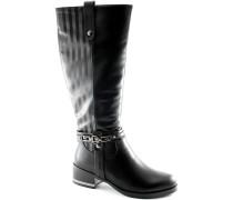 Damenstiefel 1767-1 schwarze Stiefel Elastic Reißverschluss Ferse