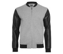 Jacke Herren Zipped Leder Imitation Sleeve Jacke