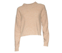 Pullover Cropped in Beige meliert