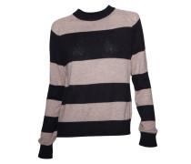 Pullover schwarz-beige gestreift