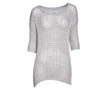 Pullover mit Lurex in Beige-Silber