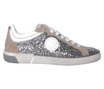 Sneaker mit Glitzer-Optik in Silber