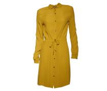 Kleid aus Viskose in Senf-Ocker