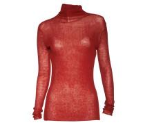 Pullover Slim Rib Roller in Rot