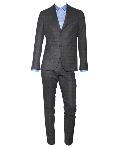 drykorn herren woll anzug reims grau kariert reduziert. Black Bedroom Furniture Sets. Home Design Ideas