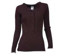 Pullover mit breitem Rippstrick in dunklem Berrenrot