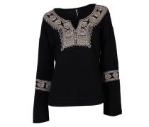 Bluse mit Muster in Schwarz