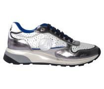 Sneaker mit Lochdetail in Weiss-Silber