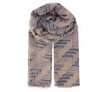Tuch Jessamine aus Wolle & Kaschmir gemustert blau