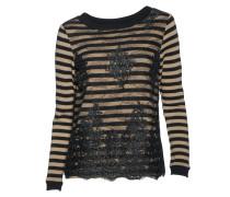 Pullover mit Spitzenbesatz gestreift in Schwarz-Beige