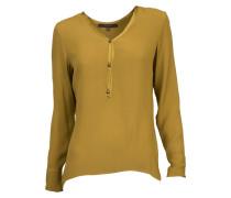 Bluse aus Viskose-Crepe in Senf-Gelb