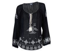 Bluse Lipi mit weißer Stickerei in Schwarz