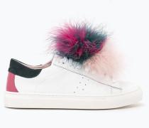 Sneakers mit Pompon aus Federn